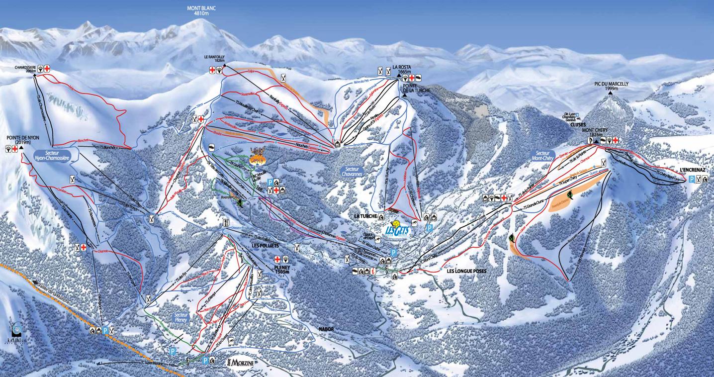 Les gets station de ski les portes du soleil alpes - Plan piste porte du soleil ...